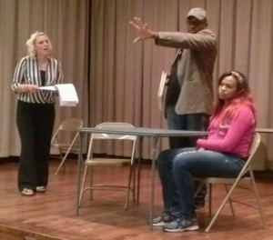 Alpena actress Raychel Roxy, writer & director Push Nevahda and Detroit actress Rachel Smith rehearsing scene in upcoming production of Presumed Incompetent