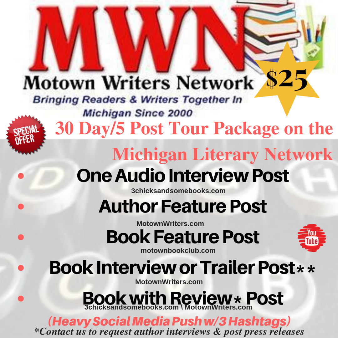 30 Day/5 Post Tour Package on the  Michigan Literary Network on $25 | Make #MotownWriters part of your literary promotions #MichiganAuthors #michlit