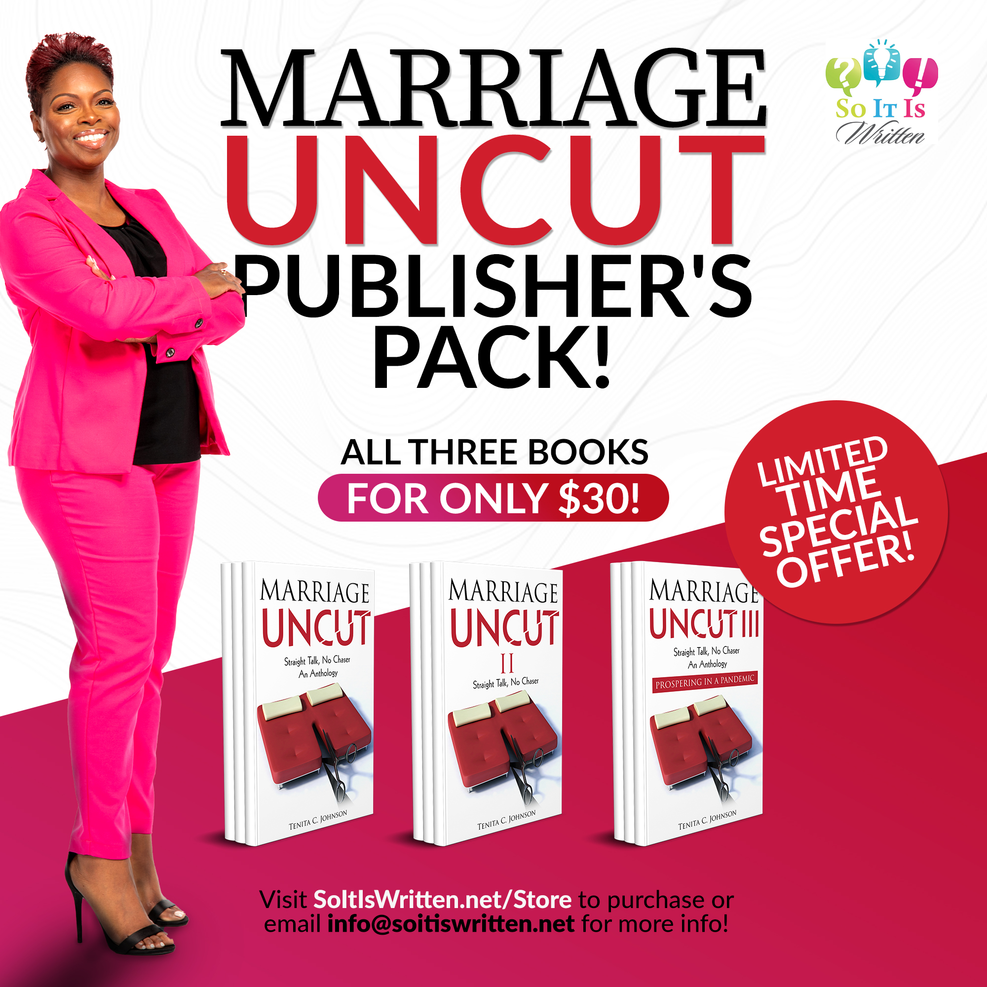 Marriage Uncut Publisher's Pack! All three books for only $30! Limited time special offer! #michlit @tenitajeditor