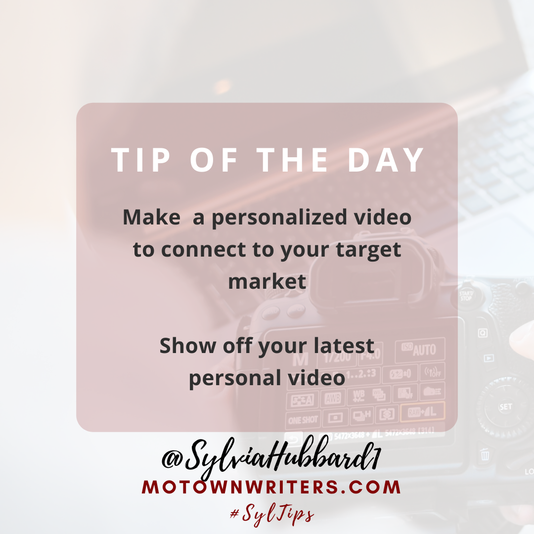 #BookPromo Tip of The Day: Connect with readers: Capitalize on Personalized Video to deliver your marketing message #booksellingtechniques #motownwriters #booktips